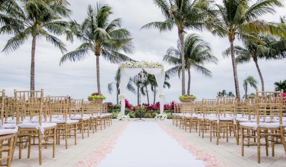 Wedding setup for an outdoor ceremony
