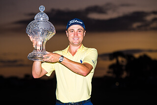 Justin Thomas with the Honda Classic trophy
