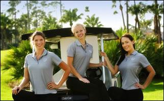 Course staff on a golf cart