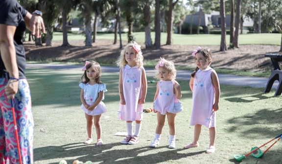 children on the golf course